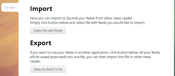 Importing and exporting feeds