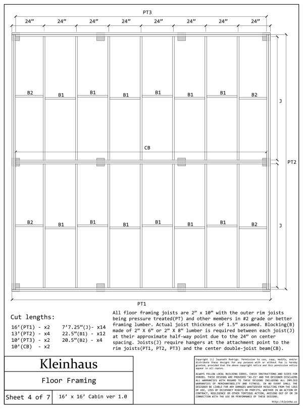 Kleinhaus 16x16 Cabin: Sheet 4